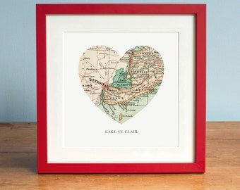 Lake St Clair Map, Lake St Clair Heart Map, Lake St Clair Map Art, Vintage Map, Antique Map Art, Personalized Map Art, Valentines Day