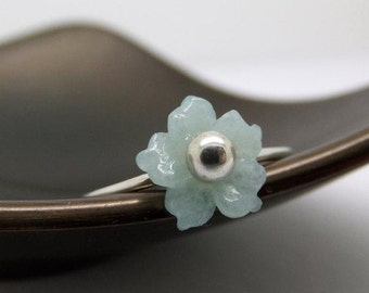 Barely There Cherry Blossom Flower Sterling Silver Ring in Amazonite - US0 to US12.0