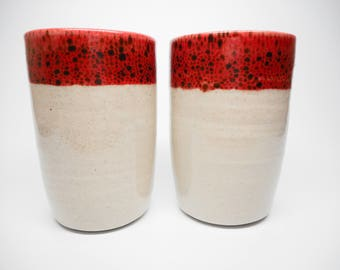 Red Speckled Rim Cup Set of 2