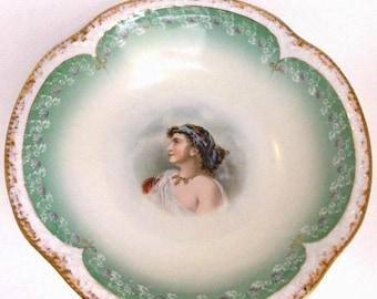 Sale Antique Bavaria Z. S. & Co. Porcelain Bowl Portrait of a Woman Hand Embellished Home Decor Collectibles