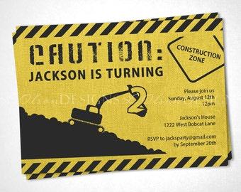 Construction Zone Birthday Invitation - Yellow - DIY Printable