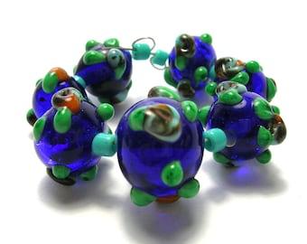 Dark Blue Lampwork Glass Beads with Roses/Leaves - Handmade Lampwork Beads