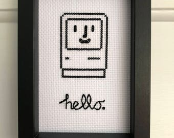 "Happy Mac ""Hello"" Framed Cross Stitch - Gift - Classic Apple Macintosh"