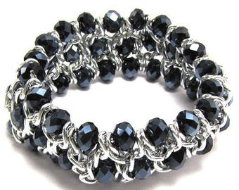 """26mm faceted crystal silver plated brass stretch bracelet 7"""" blue 17584"""