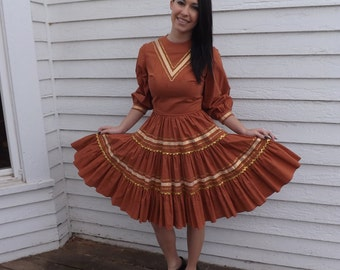 Vintage Patio Dress Full Skirt Country Ric Rac Cotton Square Dance XS S