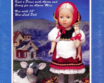 "Fibre Craft Knitting Pattern FCM385 Swiss Miss Alpine Outfit Instructions to knit for 13"" Wax-Look Doll"