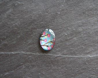 Cabochon 18 x 25 mm psychedelic floral