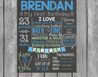 Boy First Birthday Personalized Chalkboard - Blue First Birthday Chalkboard