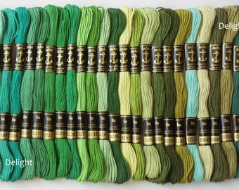 25 Anchor Embroidery Cotton Thread / Skeins / Floss in Green Color