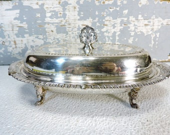 Butter Dish Silver on Copper Lid & Footed Ornate Round finial on Lid Housewares Servingware Fancy Partyware Vintage Butter Dish  Dome Lid