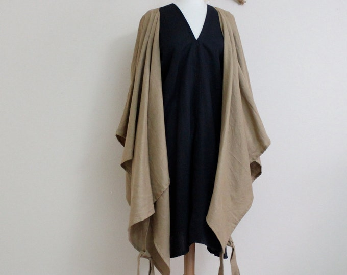 linen outfit sparrow dress with wrap jacket handmade to measure petite to plus size by annyschoo