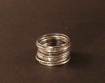 Sterling Silver Stacking Rings Set of 9