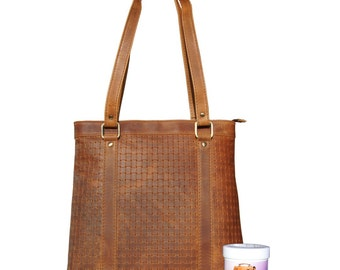 Ladies Shopper-Shoulder bag Mauritius made of brown leather in a set with leather care-Mandy by MALTZAHN