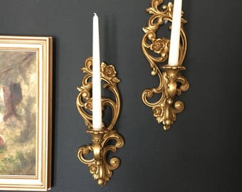 Hollywood Regency Set of 2 Gold Candle Sconces- Homco brand // 1970s - Perfect for home, office, bathroom or nursery