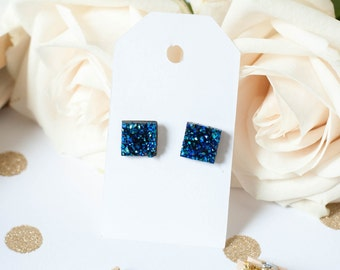 Druzy Square Earrings | Square Stud Earrings | Blue Square Faux Druzy Studs | Gifts for Her | Bridesmaid Gift |