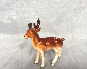 Vintage Ceramic Deer Figurine - Buck Figure - Deer Decor - Woodland Decor - Rustic Cabin Decor - Rustic Home Decor - Woodland Animal Figure