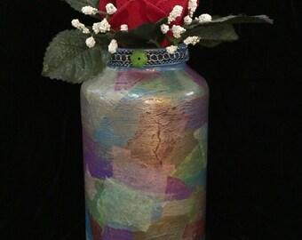 Decoupaged & Handpainted, Upcycled Glass Vase