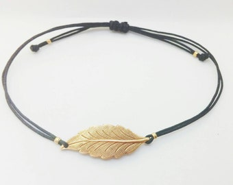 Blatt-Armband. Einstellbar. Antike Blatt Armband. Bohoarmband.