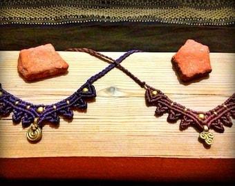 "Macrame ""Lotus"" Necklaces / Tiaras With Brass Beads"