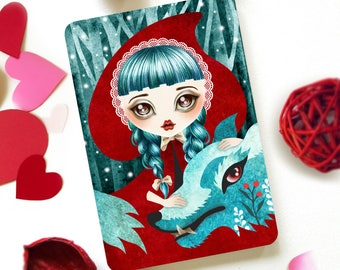 Red of the Woods, Red Riding Hood, Limited Edition Postcard Postcrossing Snail Mail Anti Valentine