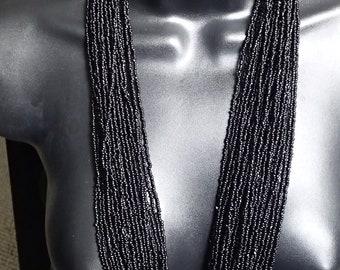 Vintage Black Glass-bead Multi-Strand Necklace