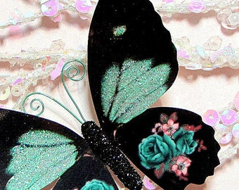 Butterfly Embellishments Mint Green Rose