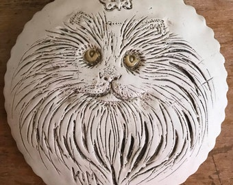 Vintage pottery cat face wall hanging