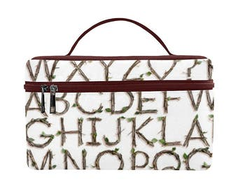 Twigs Alphabet Toiletry Bag - sticks letters Dopp Kit - large zippered makeup bag - waterproof
