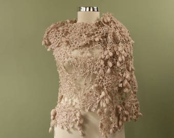 Bridal Shawl Wrap, Oversized Crochet Shawl, Wedding Shawl Champagne, Cover Up, Bridal Shrug Bolero, Triangle Lace Shawl, Bridesmaid Shawl