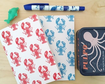 Lobster Notebook A6. Nautical Stationery. Red and Blue Lobsters. Recycled Paper Notepad