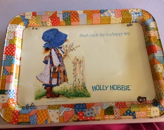 Holly Hobbie TV Tray, Quilted, Start Each Day in a Happy Way, 1972, 12 x 17