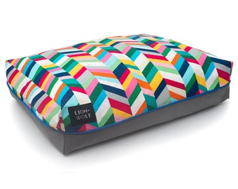 Chevron Dog Bed – Technicolor | Removable Dog Bed Cover including Pillow Insert | Modern Pet Beds from Lion + Wolf