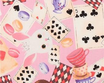 219754 bunny rabbit animal card macaron fairy tale fabric in pink