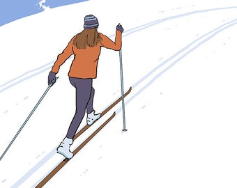 Cross Country Skier - Vermont (Art Prints available in multiple sizes)