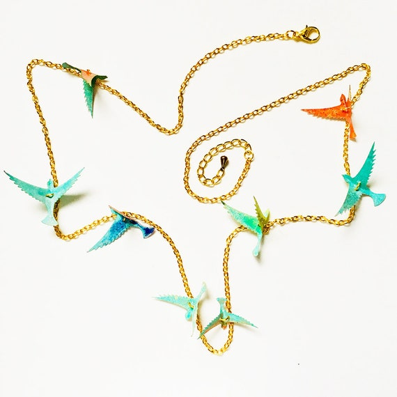 Spring is coming necklace - Birds necklace - Birds jewelry - Jewels with birds - Wings necklace - Hummingbirds jewelry - Gift for her