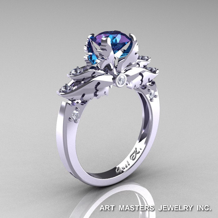 Classic Angel 14K White Gold 1.0 Ct Chrysoberyl Alexandrite Diamond Solitaire Engagement Ring R482-14KWGDAL