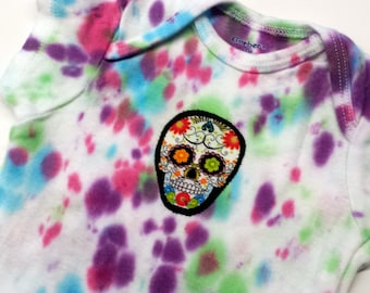 Tie Dye Sugar Skull Onesie-Baby Girl-Boy-12 month