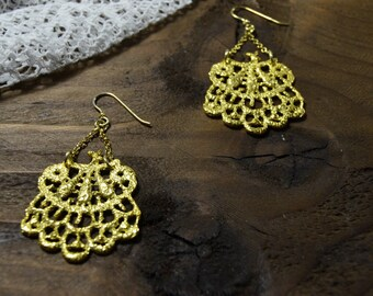 gold chandelier earrings, bridesmaid jewelry, lace earrings - dangle earrings, wedding earings gift for her