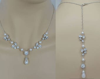 Bridal Zirconia Crystal Necklace, Swarovski Pearls Wedding Jewelry, Silver Tone Tear Drop, Backdrop, Bianca - Will Ship in 1-3 Business Days