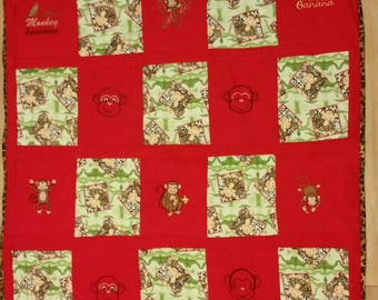 baby quilt Monkey Handmade embroidered quilt  baby crib blanket