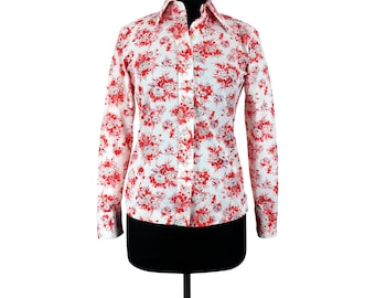 Red and white floral button up front long sleeves polyester shirt blouse vintage 70s 80s womens clothing retro groovy hippie mod top Medium