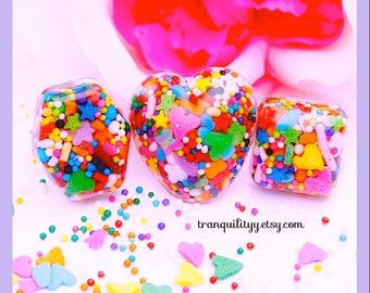 Candy Sprinkle Rings, Awesome Mix Sprinkles Hearts n Squares Adjustable  Resin Ring , Handmade By: Tranquilityy