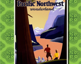 Pacific Northwest Travel Poster Wall Decor (7 print sizes available)