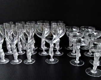 Vintage Crystal Wine and Cocktail Glasses - 21 Pieces - Bayel Bacchante and France Bacchus Mixed Set - Frosted Crystal Nude Stems -