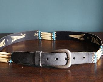Vintage genuine leather belt Black Belt Medium Large Size Boho