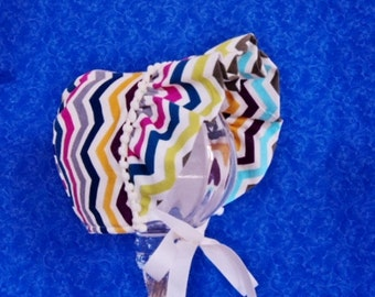 Winter Chevron Baby Bonnet Corduroy with Fleece