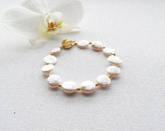 Pearl Bracelet - Freshwater Coin Pearl  Bracelet, White Bracelet - Mother's Day Gift