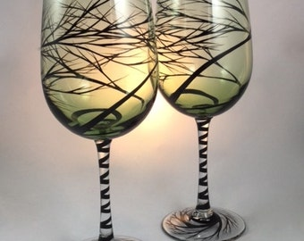 Hand Painted Tree Wine Glasses, black branches on green glasses