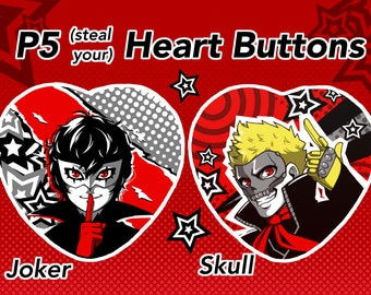 P5 Inspired Joke and Skull Heart Buttons