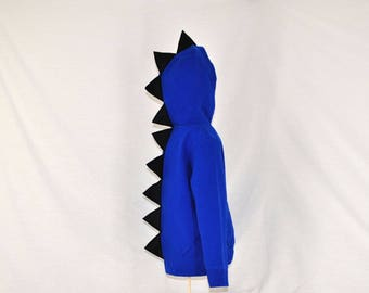 Blue Dinosaur Hoodie - With Black Spikes - Size L(6)